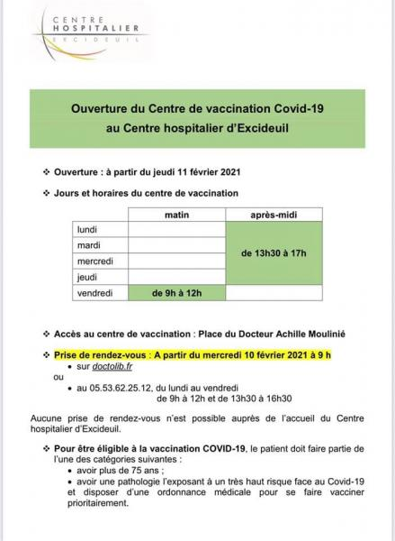 Centre de vaccination Covid 19 à Excideuil